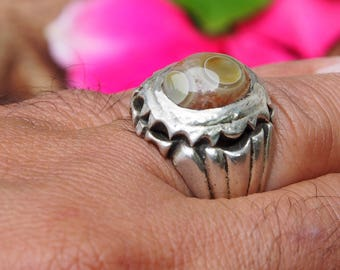 antique handmade Silver Eye-Agate stone  statement AQEEQ  ring from Afghanistan No:17/447