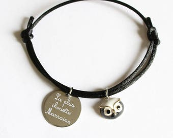 "Custom engraved medal cord bracelet ""coolest MOM Mamie Marraine sister..."" - size woman or child - Nemeti jewelry"