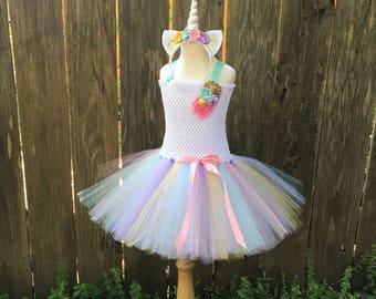 Unicorn tutu dress - pastel unicorn tutu - girls halloween costume - gifts for girls - unicorn costume - pink gold aqua lavender yellow