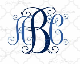 Fancy Vine Interlocking Monogram Alphabet svg Upper & Lower Cutting File- SVG EPS Dxf Cut Files A-Z Alphabet Shilhouette and Cricut Ds