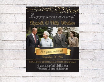 30 wedding anniversary gift, printable poster, 30th Anniversary Gift for parents from kids, 30th Anniversary Party Poster, Then And Now