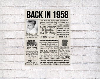 Personalized 60th Birthday Board, Old Newspaper Poster with Photo, 60th Birthday Gift, 60 Years Ago, 1958 Fun History Facts, Back in 1958