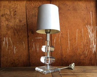 Vintage Lucite Lamp - Stacked Lucite Table Lamp - Mid Century Lucite Accent Lamp - Geometric Lucite Lamp - Retro Clear Lamp - Square Lamp