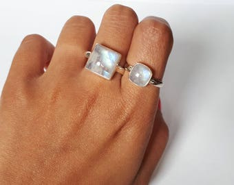 Square moonstone ring, size 8.5, set in 92.5 sterling silver, free shipping, resizing available