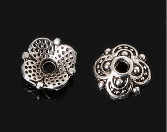 20 pcs, flowers, ethnic dishes cups, caps, beads, antique ethnic caps, silver - 8 x 3 mm