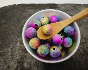 Stardust, multicolored beads, acrylic beads, 14 mm beads