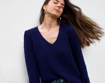 the Raglan V in Navy -knitted sweater (V neck raglan sleeve cozy minimal pullover)