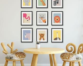 animal nursery prints nursery wall art safari nursery decor baby room print - Kids Animal Prints