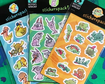 Stickers Set - Bunnies x Chickens x Frogs - Illustrated by krzymsky