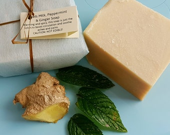 Peppermint | Ginger Goat's Milk Soap - SLS | Palm Oil Free -  Natural Soap Bar - Cruelty Free skincare - Cold Pressed Soap - Circulation