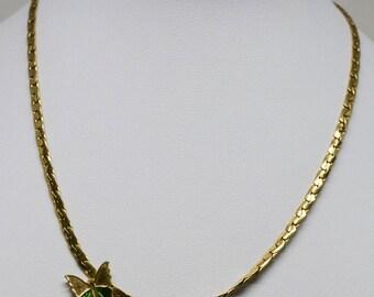 Lovely gold tone butterfly necklace