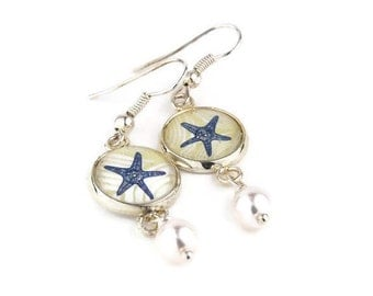 Starfish Pearl Drop Earrings | Beach Theme | Bridesmaid Gift