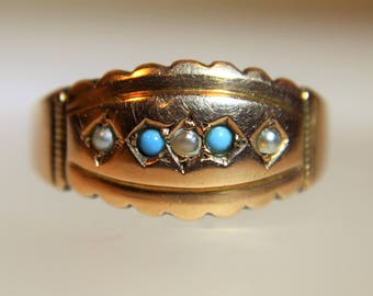 Victorian 1896 Turquoise & Pearl  9K 9ct Rose Band Ring size 7 1/4 ~ O