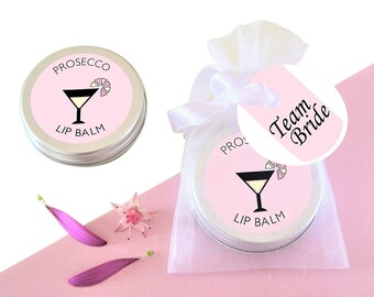Hen Party Lip Balm-Gift for Her-Hen Party Favour-Bridal Shower Favour-Bachlorette Favour-Hen Do Favour-Prosecco lip balm-Team Bride Favour