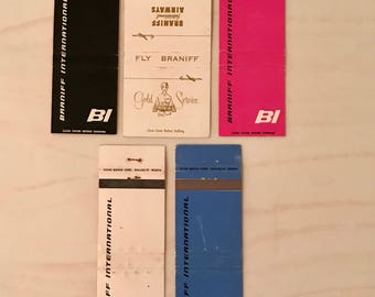 Lot of 5 Braniff International Airways Matchbook CoversFlat No matches Just Covers Braniff Airlines