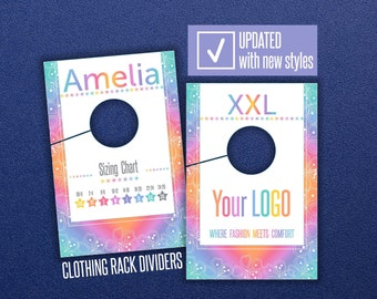 LLR Clothing Rack Dividers * HO Approved Fonts & Colors * Rack Size Hanging Dividers * Sizing Divider * Hanger Tags * Style Size Charts