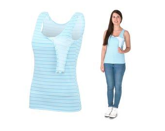 EMMA 2in1 Tunic Top Multifunctional Nursing Breastfeeding BLUE STRIPES