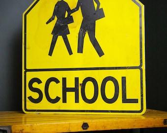 "Vintage School Pedestrian Crosswalk Yellow Reflective Street Road Sign Large 39""X30"" black school house children walking Arrow Advertising"