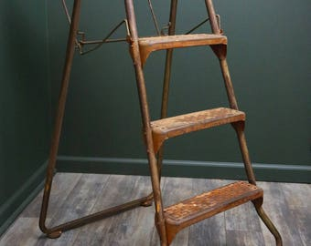 Vintage Industrial Step Stool Ladder & Folding Shelf Cosco Orange Steampunk Collapsible Library Kitchen Shop Boutique Display Study Platform