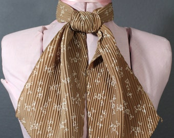 60's Brown and Beige Floral Print Neck Scarf