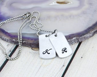 Custom Dog Tag Necklace for Women - Womens Initial Necklace - Personalized Necklace for Women - Mini Dog Tag Mom Necklace with Kids Initials
