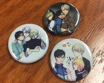Victor - Yuri - Yurio - Yuri on Ice Anime Yaoi Pin Set