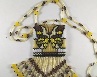 Beaded Pouch Necklace, Peyote Native American Style Butterfly Medicine Bag Necklace, Yellow, Gold, and Brown Butterfly Fringe Jewelry