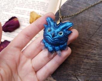 Arctic Ice Owl Necklace - handmade spirit animal necklace, winter owl pendant, boho owl necklace, owl totem, wiccan jewelry