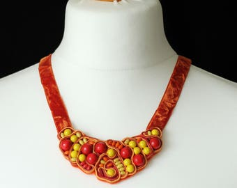 Mexican boho necklace / Yellow red necklace soutache / Bright neon necklace / Gypsy jewelry bohemian bib necklace / Frida Kahlo jewelry