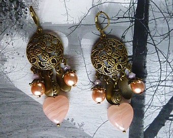 "Earrings, retro style ""Valentine"" pink hearts, rose quartz gemstone, bronze metal, glass Pearl, Crystal"