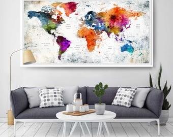 World Map Wall Art Poster Decor Painting