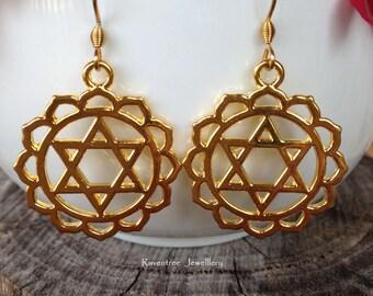 Heart Chakra Earrings. Gold Chakra. Hypoallergenic earrings. Boho earrings. Spiritual earrings. Gypsy earrings.Anahata earrings.Gift for her