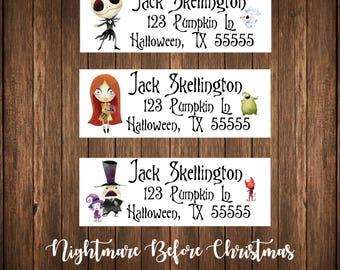 Nightmare Before Christmas Address Labels, Mailing Labels
