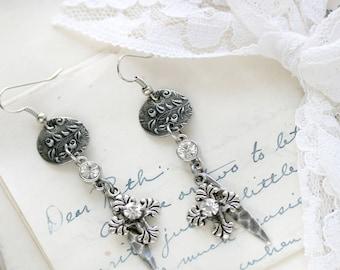 Silver Cross Earrings - Silver Dangle Earrings - Dangly Earrings - Girlfriend Earrings Gift - Gift for a Boho Lover - Silver Cross Jewelry