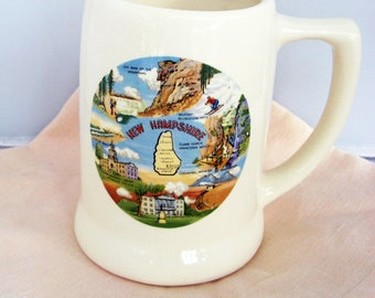 NH BEER STEIN, Vintage New Hampshire Souvenir Mug Stein, State  Beer Mug N H