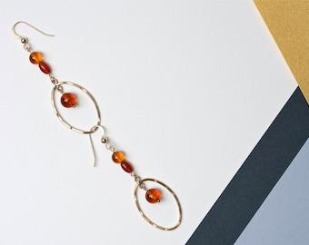 Earrings Amber and Carnelian Oval Drops