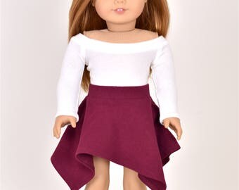 UnEven Skirt Color Burgundy 18 inch doll clothes