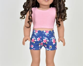 Crop top 18 inch doll clothes Color Dusty Pink