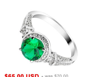 Antique Engagement Ring Emerald Wedding Green Promise For