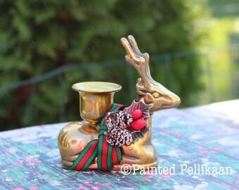 Vintage Brass Reindeer Candleholder with removable decoration, Brass Deer, Brass Candle Holder