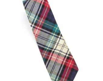 Bert Pulitzer vintage tartan 100% cotton flannel neck tie, made in the USA