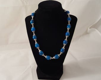 Black & Blue Glass Bead Necklace - Blue Necklace- Black Necklace - Silver Necklace - Beaded Necklace - Blue Jewelry - Black Jewelry - Blue
