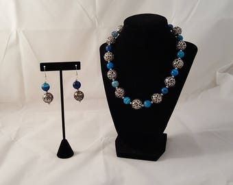 Blue & Silver Chunky Jewelry Set - Blue Stone Necklace - Blue Necklace - Blue Stone Earrings - Blue Earrings - Stone Necklace - Blue Stone