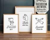 Funny wall art, Bathroom art, PRINTABLE art, Set of 3, Bathroom wall decor, Bathroom printables, Funny bathroom signs, Kids bathroom art