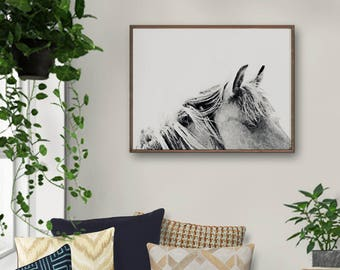 Horse Print, Horse Art Print, Horse Home Decor, Horse Art, Gift for Horse Lover, Grey White Wall Art, Horse Painting, Horse Wall Decor