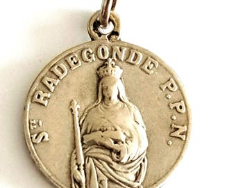 "Antique french religious sterling silver  ""St Radegonde"" medal , edwardian christian pendant"