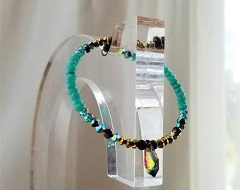AAA Jade Tigers Eye Semi-Precious Gemstone Bracelet, Bangle, Chakra, Protection Healing Stones, Gold Plated, Swarosvki Crystal