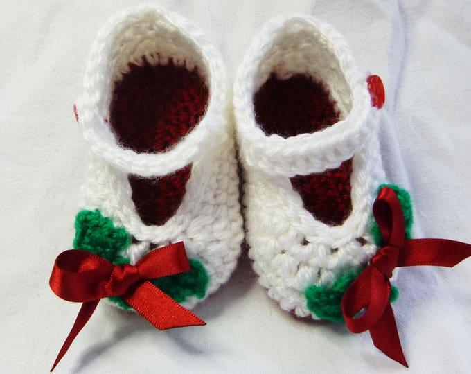 Christmas Handmade Crochet Babies Bootees, Hand Crochet, Red and White, Christmas Bootee, 3-6 months, Boy or Girl, Gift Boxed