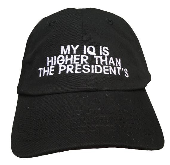 My IQ is higher than the Presidents (Youth Dad Cap Polo Style Ball Cap - Black with White Stitching