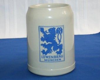 Vintage Thewalt LOWENBRAU Munchen 20 oz Beer Stein  Salt Glazed Stoneware Tankard Made in Germany Munich Bar Collectible Barware Memorabilia